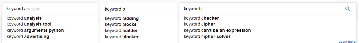 longtail keyword research with autocomplete