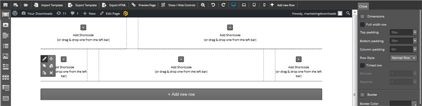 page builder rows ready for short code