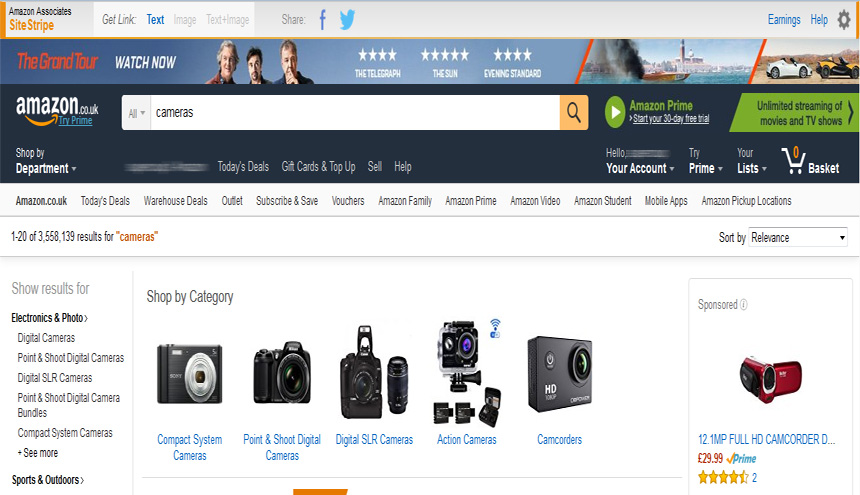 search for products on amazon
